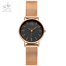 SK Thin Dial Fashion Brand Women Golden Wrist Watch MILAN Street Snap Luxury Female Jewelry Quartz Clock Ladies Wristwatch 2017