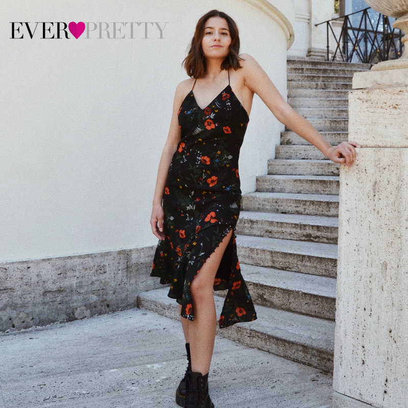 Ever Pretty Brand New   Cocktail     Dresses   Floral Printed V-neck Chiffon A-line Sleeveless Summer Vestidos Women Party   Dress   AS05900