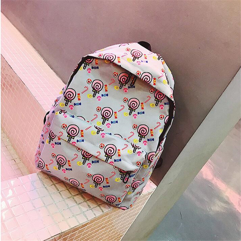 Meloke 2019  Printed Flamingo And Fruit Canvas Backpacks Casual Large Size School Bags For Girls Travel Bags Drop Shipping Mn933 #4