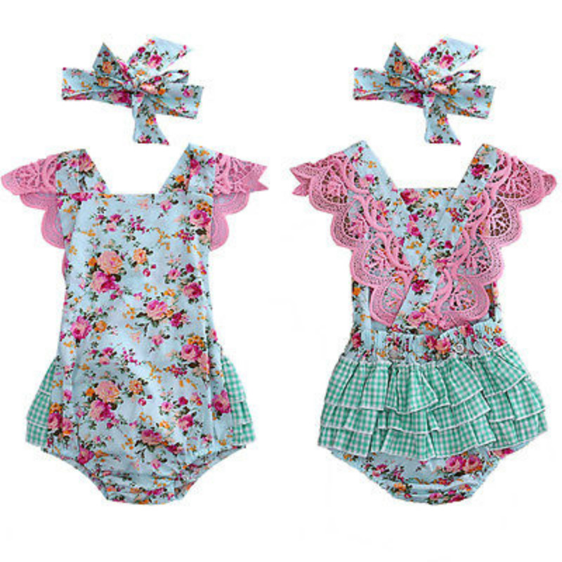 Newborn Infant Kids Baby Girls Cotton Ruffles Lace Sleeveless Floral Romper Headband Clothes Jumpsuit Playsuit Outfits Sunsuit