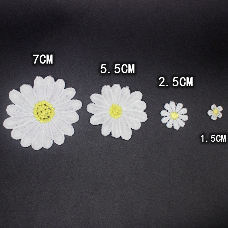 Daisy flower patch embroidered Sew On Applique Floral Lace Patch Milk Fiber Sewing Trims Clothes Wedding Dress Craft DIY buiter in Patches from Home Garden