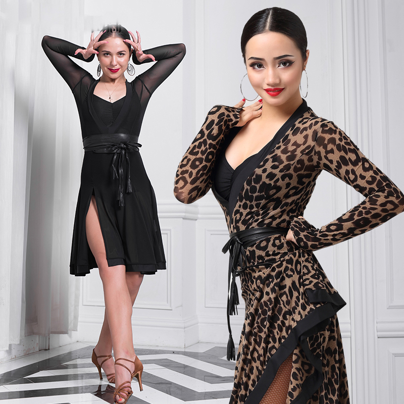 New Ballroom Latin Dance Competition Dress For Women Sexy Big Pendulum Dresses V Collar Tango Dressed In Latin Dance Wear DN1194