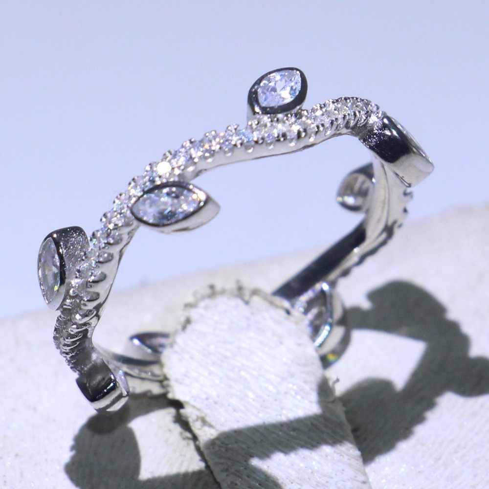 الكلاسيكية لطيف بسيطة مجوهرات اليدوية الحقيقي 100% 925 فضة تشيكوسلوفاكيا حزب فتاة النساء الزفاف شجرة فرع باند الطوق هدية