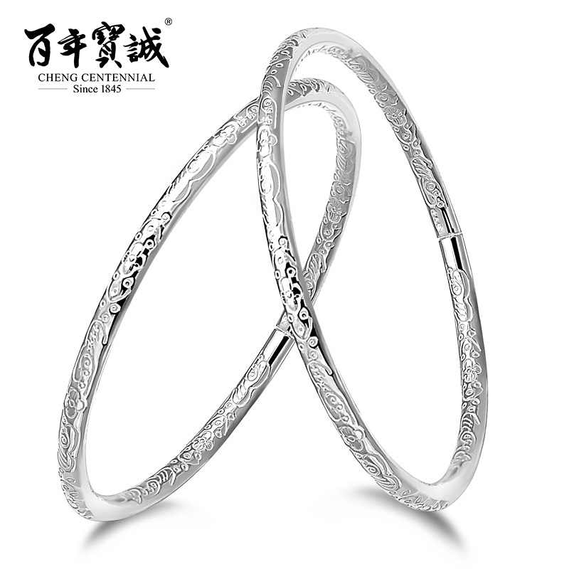 Cheng Centennial Bohemian style Solid silver bracelet female 999 sterling silver jewelry Open design Fine circle