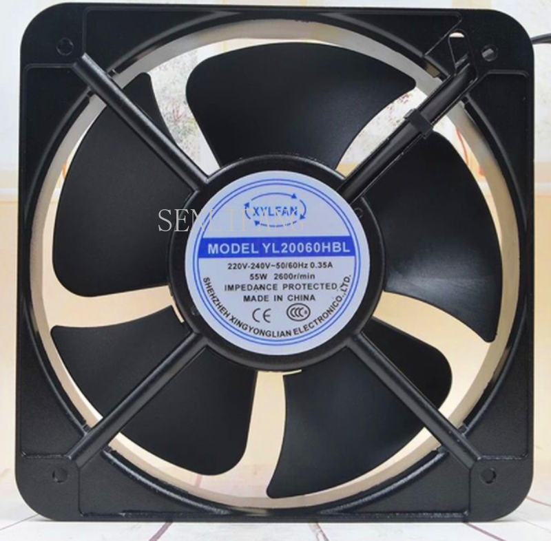 Free Shipping YL20060HBL AC 220V-240V 0.35A 50/60HZ 55W 2600RPM 2 Wires Double Ball Bearing AC Cooling Fan