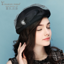 Charles Perra Brand Women Hat Autumn Winter New Beret Elegant Fashion Fedoras British Dome Felt Hats Lady Caps 7632