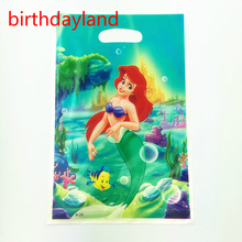 50pcs Little Mermaid theme PE gift bag plastic candy bags for Kids birthday party decoration