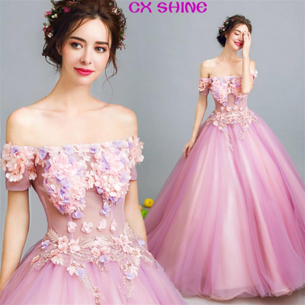 CX GLANZ Rosa Formale abendkleid perspektive blumen kleider Braut ...