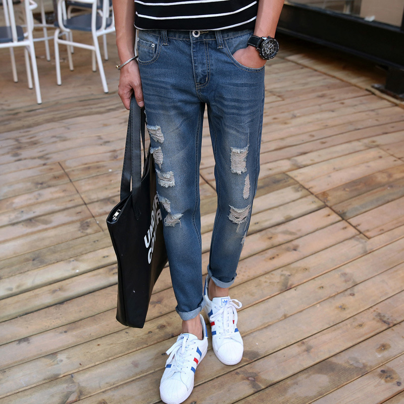 Fashion new mens jeans with holes personality ripped slim fit casual ankle length distressed denim jeans
