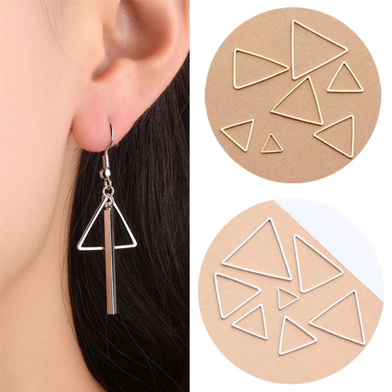 New 10pcs/set Gold/silvery DIY Triangle Earrings Accessories Making Findings Connectors Earring Pendant Bracelet For Jewelry