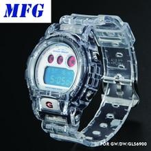 Прозрачный ремешок для часов, рамка для часов DW6900, Безель, браслет с металлической застежкой и бампером для часов