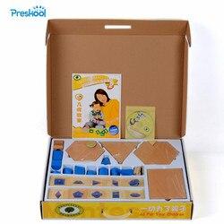 Zabawka dla dziecka Montessori konstruktywne trójkąty 4 pudełka 10 wypustki kształty sortowanie bryły geometryczne z 3 stojakami Brinquedos Juguetes -