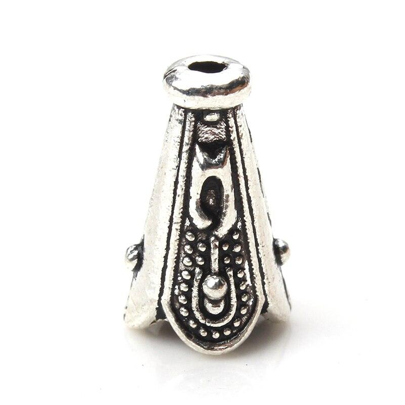 5pcs/lot 12.5*8*4mm Vintage Conical Column Alloy Bead Caps Antique Silver Color Embossing Tassel Cord Cap Jewelry Components