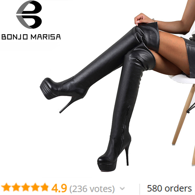 BONJOMARISA בתוספת גודל 32-46 אופנה מעל הברך ירך גבוהה מגפי נשים סתיו סקסי דק עקבים גבוהים פלטפורמת נשים נעלי אישה
