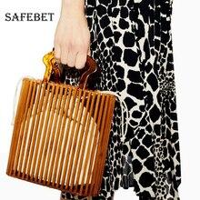Womens shopping handbag fashion beach manual straw storage bag simple acrylic 2019 new Europe and America diaper caddy