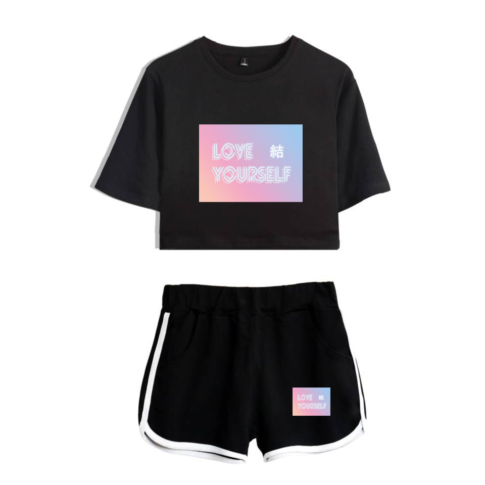 BTS Love Yourself Answer Kpop Summer   Shorts   And T-shirts Women/men Two Piece Sets Hip Hop Crop Top Casual Clothes XXS To 4XL