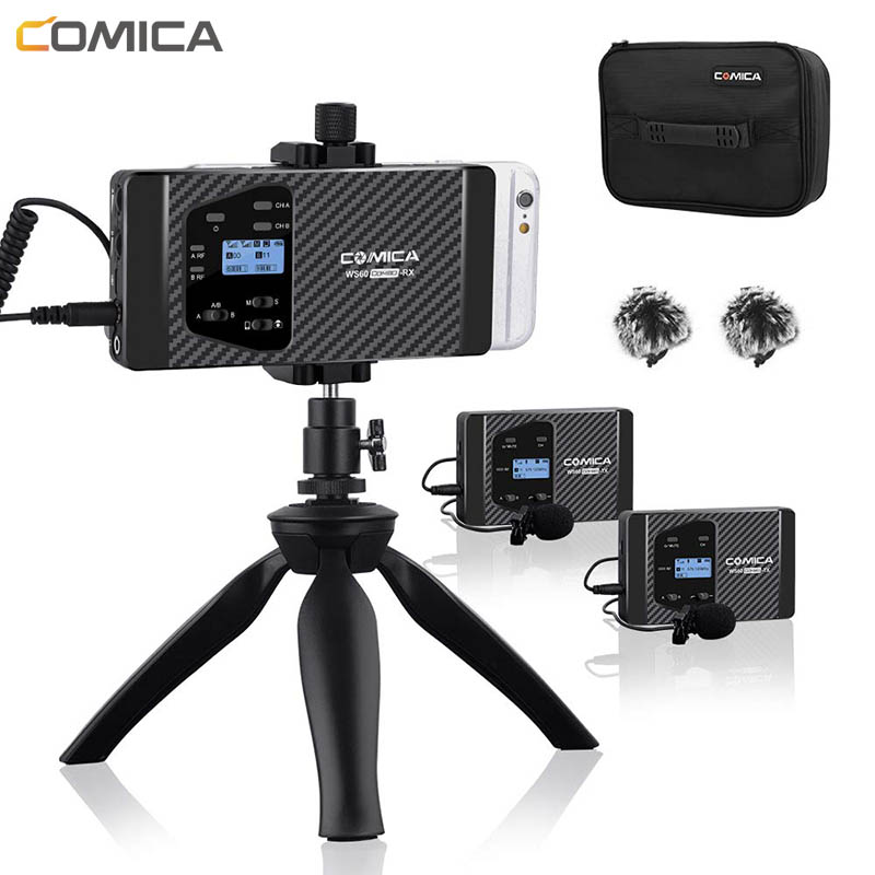 Wireless Lavalie Microphone Comica CVM-WS60 Wireless Dual Lapel Microphone System For IPhone Smartphones For Canon Nikon Camera