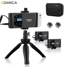 Wireless Lavalie Microphone Comica CVM-WS60 Dual Lapel System for iPhone Smartphones Canon Nikon Camera