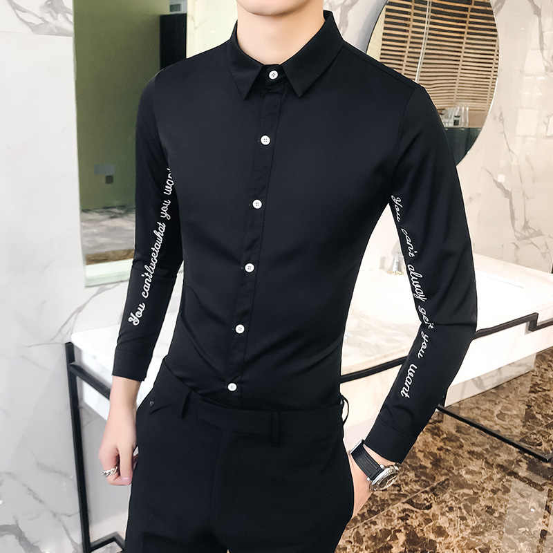 Hot Sale Men Solid Shirt High Quality Letter Embroidery Long Sleeved Men's Shirts Casual Slim Fit Night Club/Party Dress Shirts