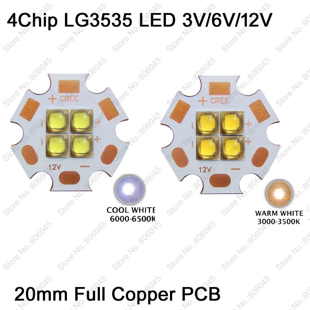 3V / 6V / 12V Epileds 3535 4Chips 4-18W High Power LED Emitter instead of MKR XHP50 Cool White Warm White LED on 20mm Copper PCB 2pcs epileds 7070 uv purple 395nm led emitter lamp light 6 8v light source for diy on 20mm copper pcb board