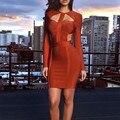 Весна 2017 Женщины Платья Повязки Платья Sexy Cut Out С Длинным Рукавом Bodycon Повязку Dress HL Оптовая