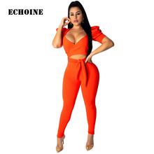 Sexy 2 Piece Set Crop Top and Pants Bodycon Skinny Club Outfit V-neck Lace Up Bandage Top and Pencil Pants Matching Sets Summer цена