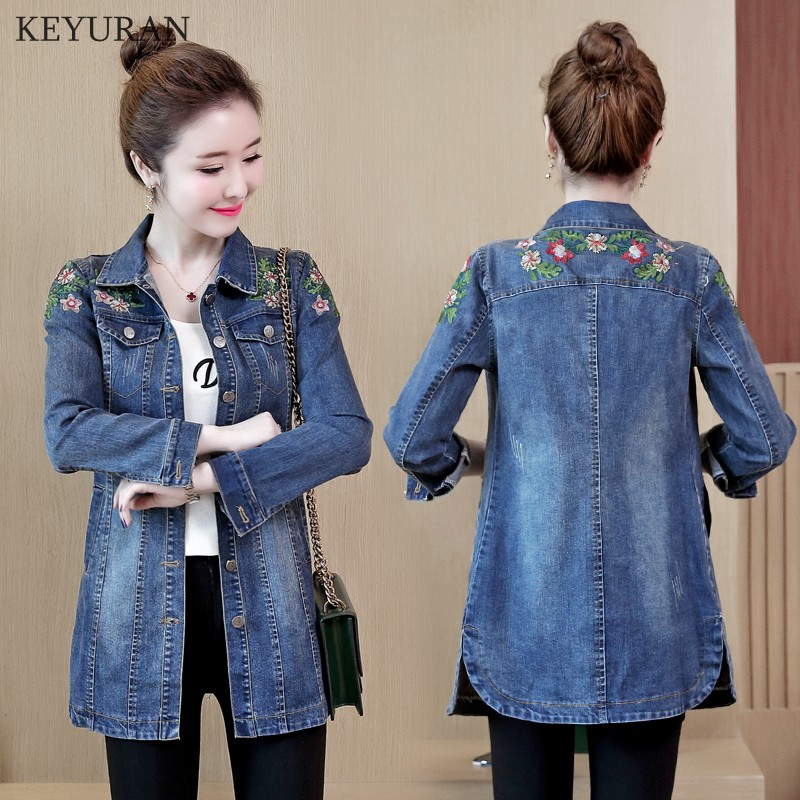 Floral Embroidery Denim Jacket 2019 Spirng Autumn New  Female Slim Medium-long Turn Down Collar Long Sleeve Jeans Coat For Women jeans con blazer mujer