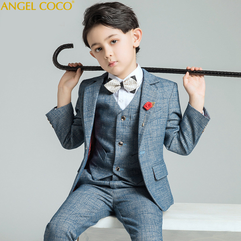 Boy's Suits & Blazers Children's Clothing Boy's Suit+Pant+Vest+Shirt+Bow Tie 6 Pieces 100 170 Cm Single Breasted British недорго, оригинальная цена