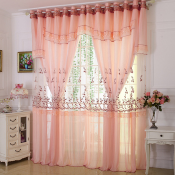 Custom curtains High-grade embroidery lace curtains  living room bedroom  shading double-layer curtain sheer voile curtain E298