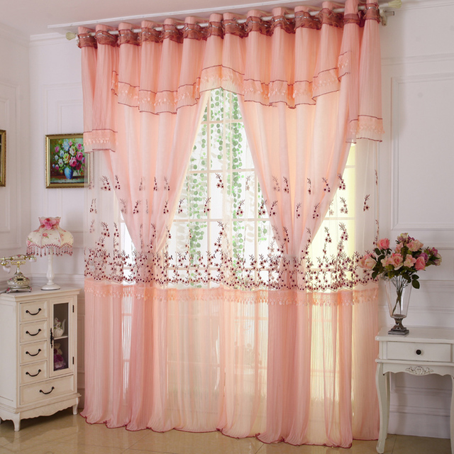 Custom curtains High grade embroidery lace curtains living ...