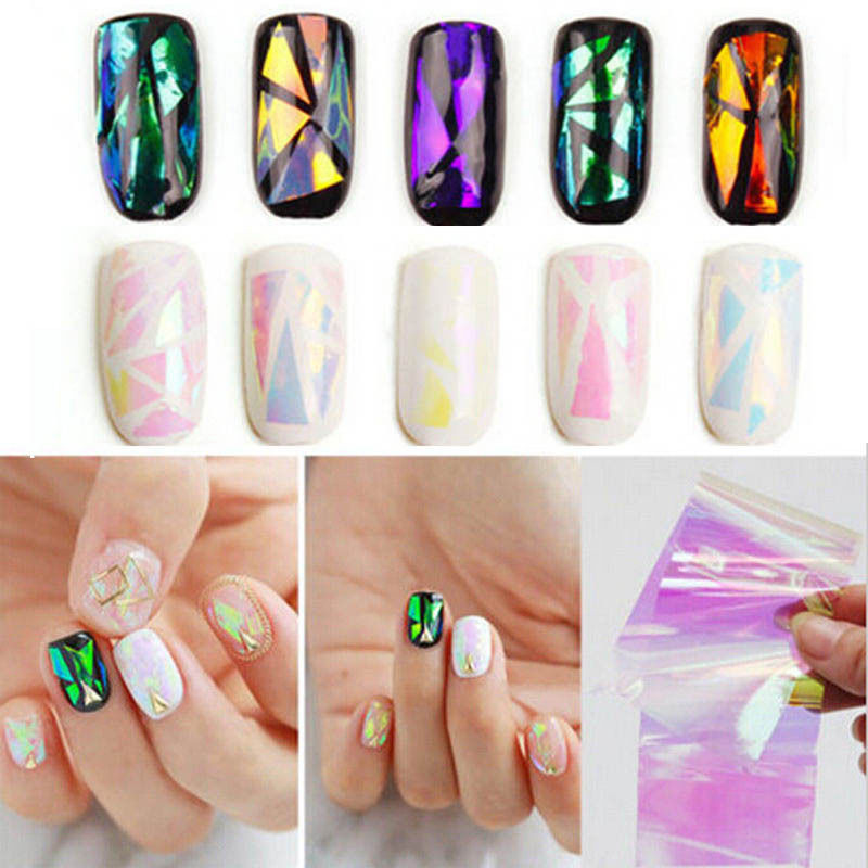 New 5pcs 3D Holographic Broken Glass Foils Finger Nail Art Mirror ...