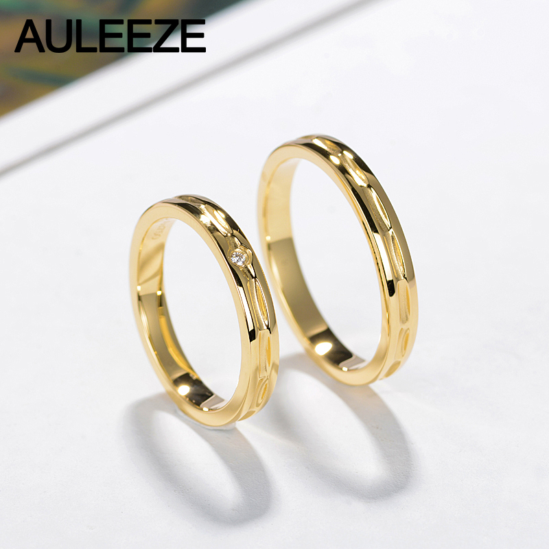 AULEEZE Unique Design Lovers 18K Yellow Gold Couple Ring Real