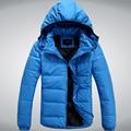 2016 Новая Мода Сплошной Цвет Пуховик Мужчин Тонкий Съемный Колпачок Зимняя Куртка Мужчины