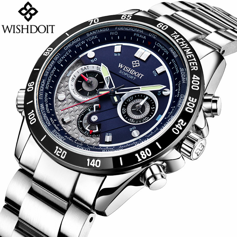 Relogio Masculino WISHDOIT Mens Watches Top Brand Luxury Luminous Date Clock Male Sport Stainless Steel Waterproof Quartz Watch relojes hombre 2017 mens watches top brand luxury carnival simple relogio automatico masculino dress stainless steel gift clock