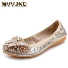 MVVJKE Women Crystal Ballet Flats Size 34-43 2017 Spring Solid Gold Bling Cloth Pointed Toe Slip-On Flat Shoes