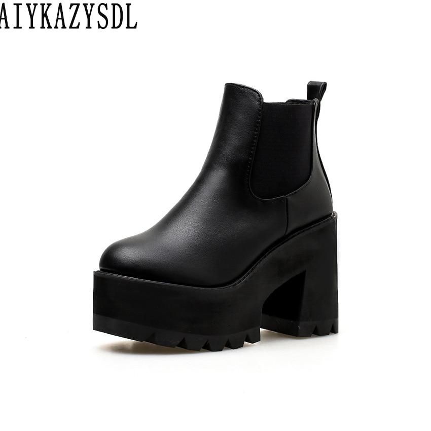 все цены на AIYKAZYSDL Women Chelsea Ankle Boots Elastic Slip On Bootie Platform Shoes Square Block Chunky High Heel 2018 Boots Creepers