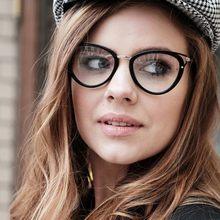 Monturas para gafas de gato para mujer, lentes ópticas ovaladas a la moda para ordenador, 45661