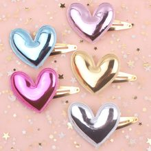 2019 NEW Fashion (PU love heart size 50mm+50mm) lovely girls gold BB clip 5 colors hair accessories for kids barrettes 1pcs(China)
