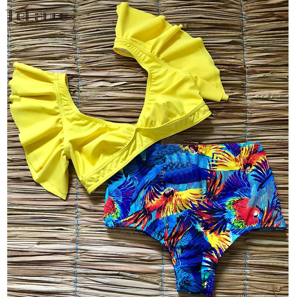 HTB1WZKfX6zuK1RjSspeq6ziHVXas Ruffle High Waist Bikini 2019 Swimwear Women Swimsuit Push Up Bikinis Women Biquini Print Swimsuit Female Beachwear Bathing Suit