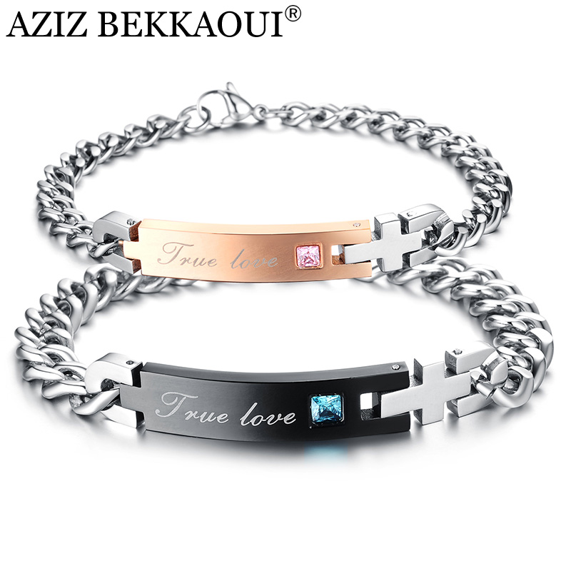 Dropshipping New Lover Couple Crystal Titanium Stainless Steel Bracelet For Women Men Customized Logo Engraving DIY Jewelry Gift