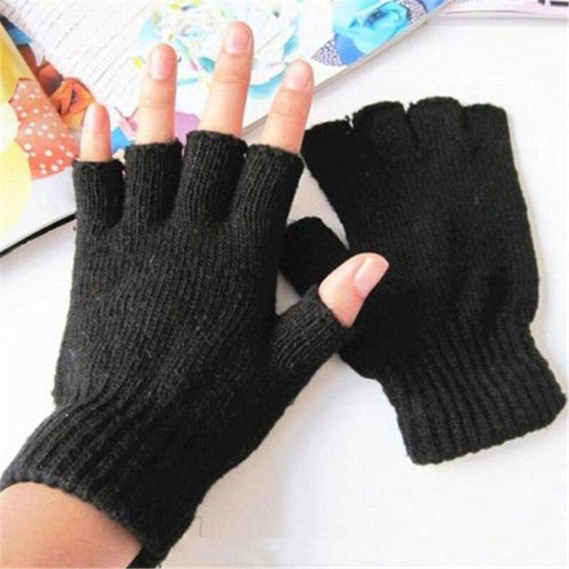 Hot Unisex Winter Fashion Soft Black Simple Warmer Fingerless Mittens Hand Stretch Knitted Gloves