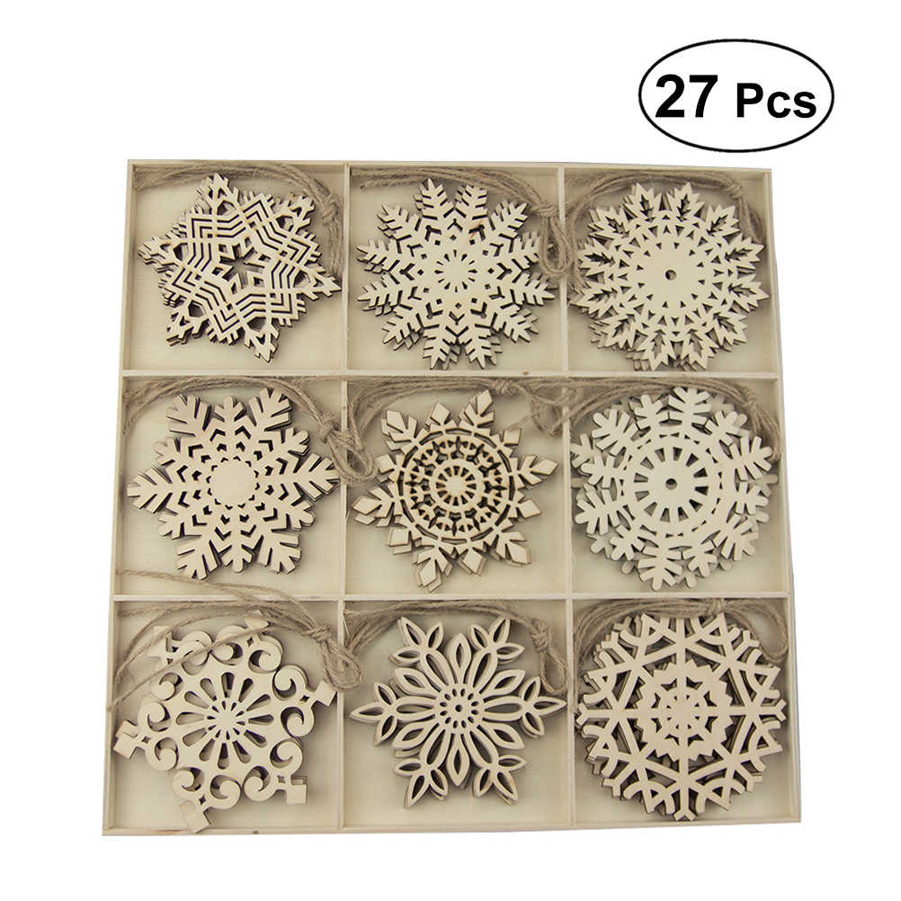 27pcs Christmas Wooden Snowflakes Slices Chips Art Craft DIY Accessories Small Shaped Hanging Ornaments for Christmas Tree