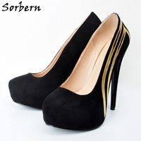 Sorbern Black Women Pumps Plus Size 34 48 With Gold Women'S Shoes Fetish High Heels Sapatos Femininos Custom Platform Big Size
