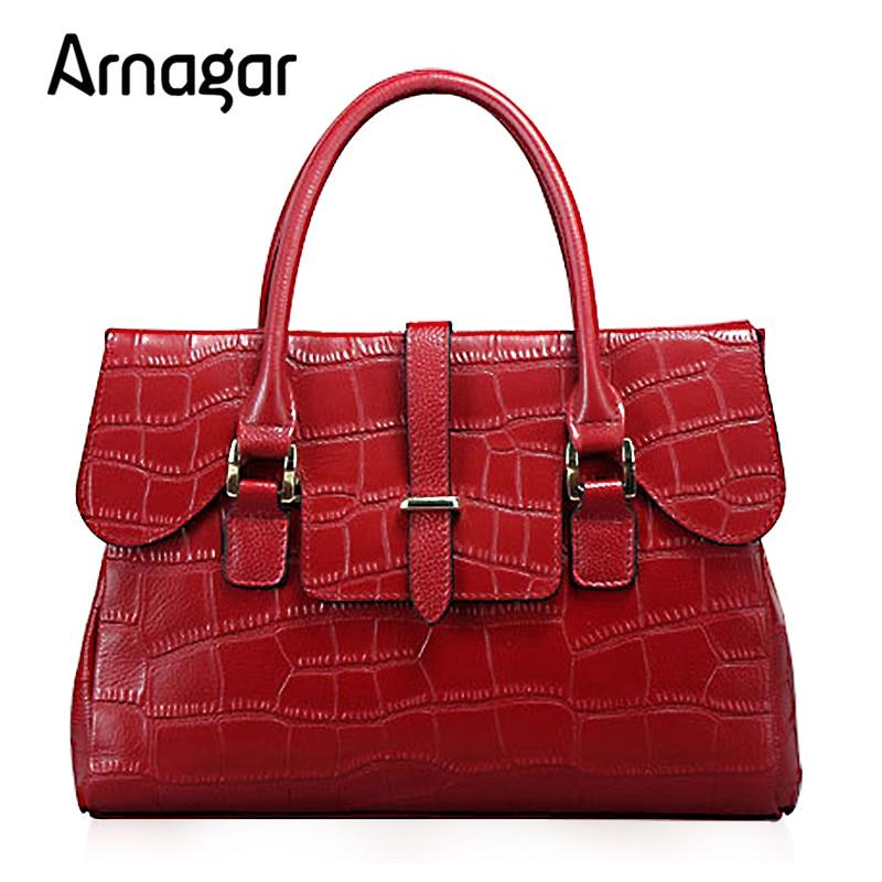 Arangar Luxury Genuine Leather bag women fashion alligator real cow leather designer handbags high quanlity 2016 crossboby bag