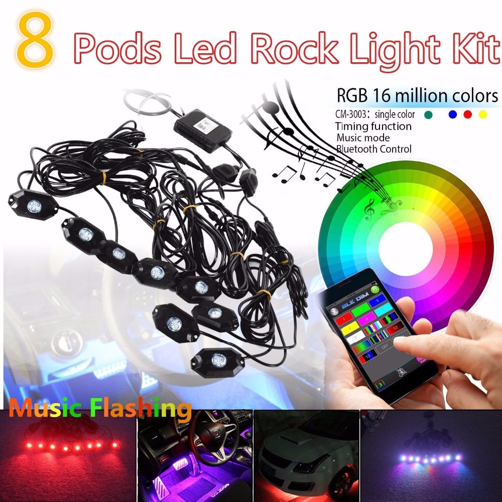 8 Pods LED Rock Light RGB Color Changeable Bluetooth Control Music Flash Offroad rock o2 phone flash light led camera light pink