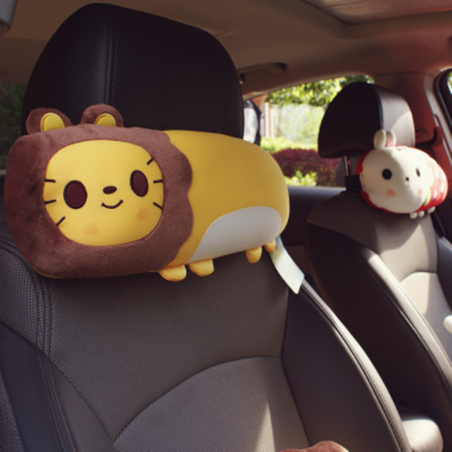 Free shpping Cartoon animal car headrest neck pillow cute car seat back pillow pillow car car supplies creative