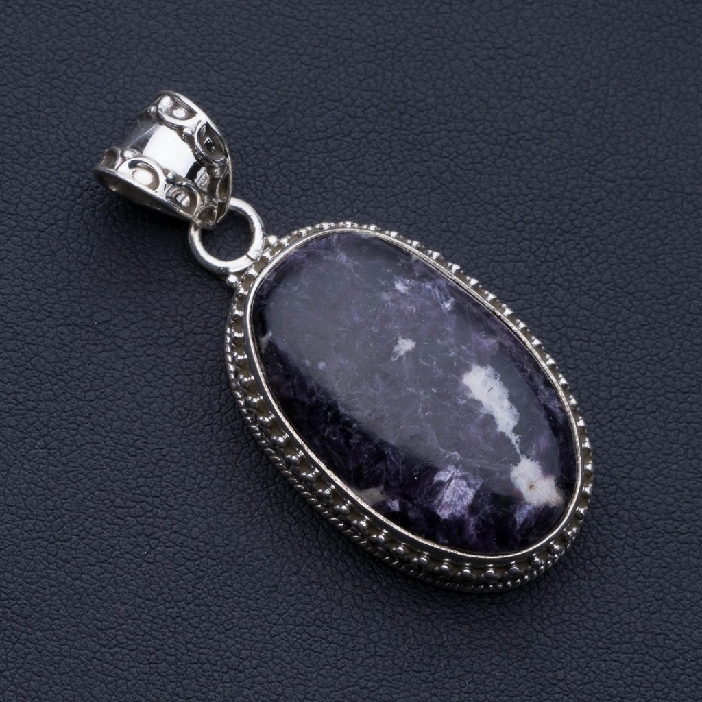 Natural Charoite Punk Style 925 Sterling Silver Pendant 2 P0673Natural Charoite Punk Style 925 Sterling Silver Pendant 2 P0673