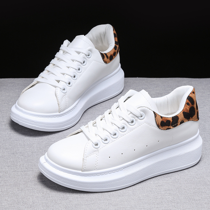 QWEDF 2019 New Small White Shoes Female Pu Sexy Comfortable Korean Leisure Shoes Sneaker Female Shoes Leopard Board Shoes G2-56