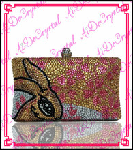 Aidocrystal pure handmade crystal gold rabbit pattern clutch bag for party
