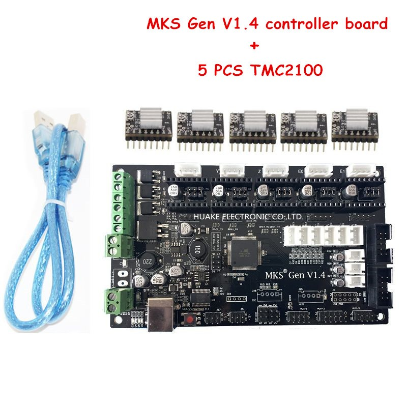 3D Printer MKS Gen V1.4 Controller Board & 5PCS TMC2100 Compatible with Ramps1.4/Mega2560 R3 mks gen v1 4 control board mainboard compatible with ramps1 4 mega2560 r3 5pcs tmc2130 v1 0 stepper motor for 3d printer parts
